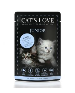 Cats Love Junior Kalb 85 g              mit Eierschalen & Lachsöl